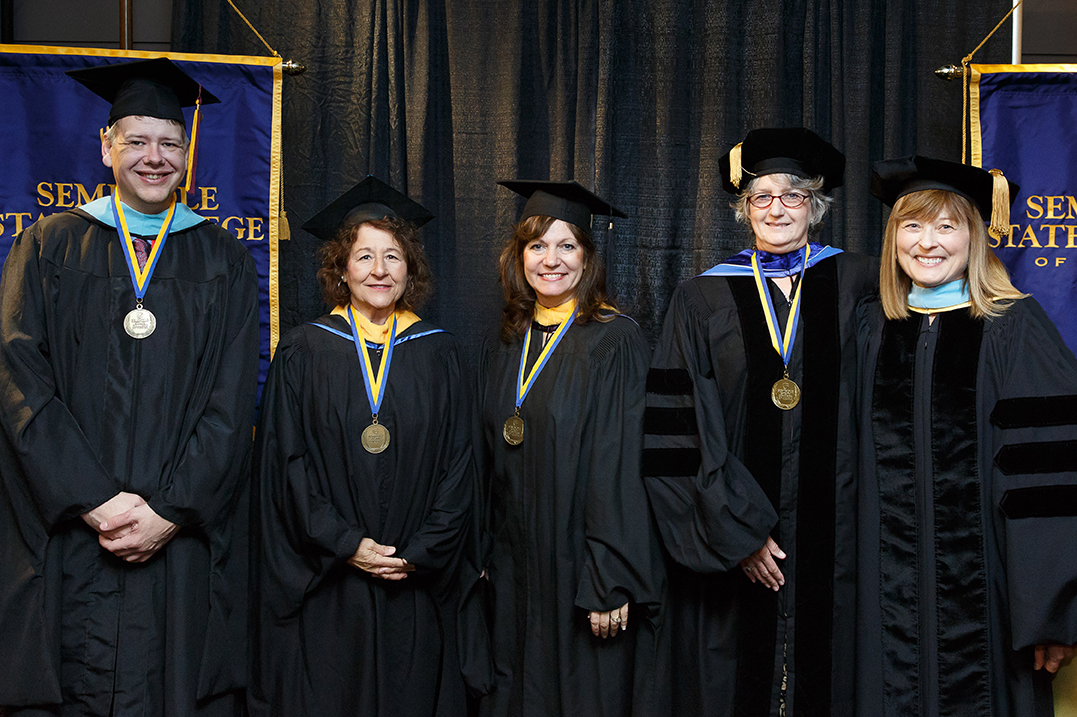 Professor McGraw, Professor Aromando, Professor Donahou, Dr. Stokes and Dr. Laura Ross, Vice President of Academic Affairs