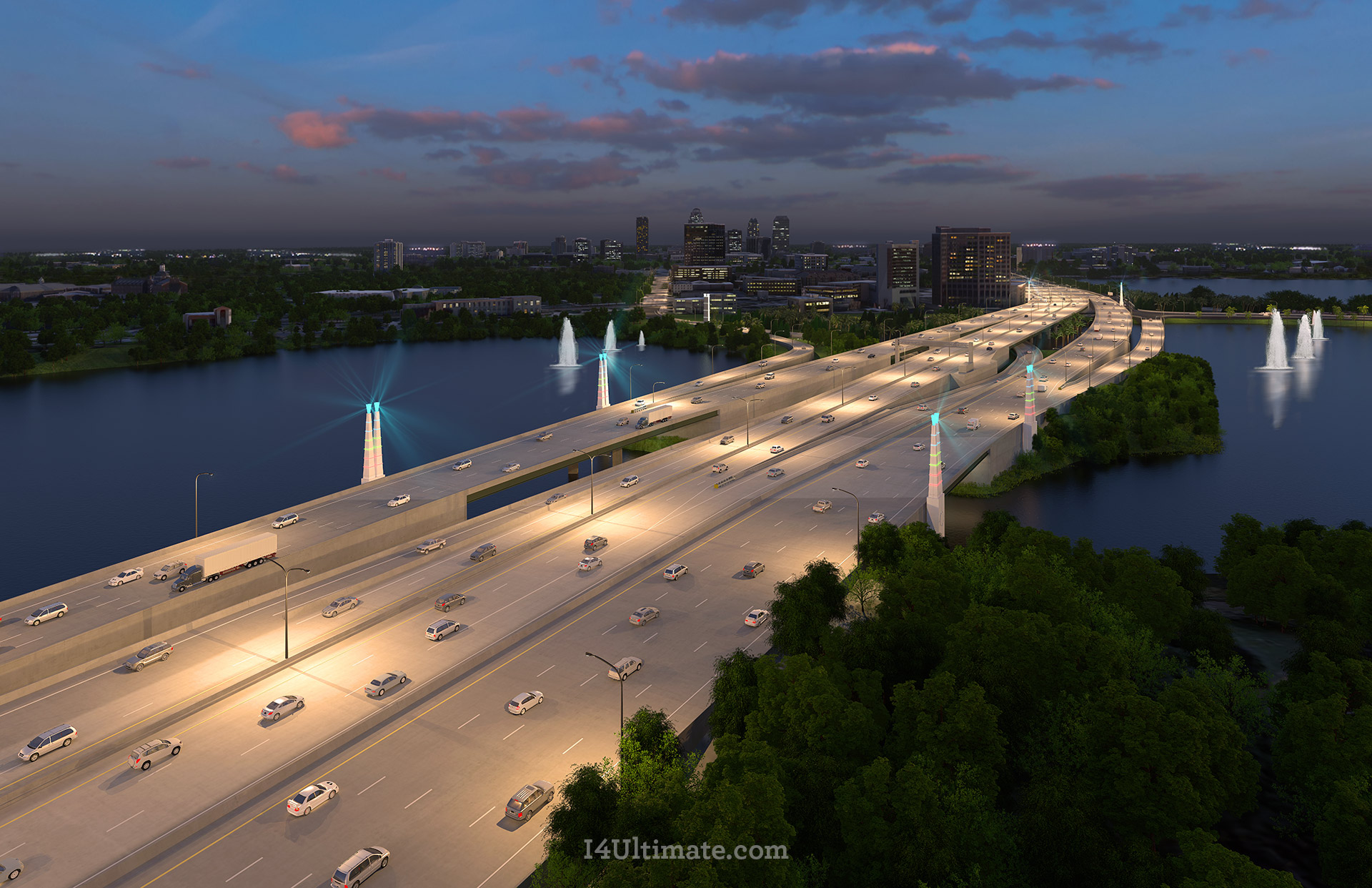 Rendering: I-4 Ultimate - I-4 and Ivanhoe (Night)